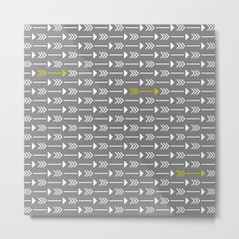 Tiny Arrows Grey Metal Print
