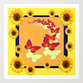 Monarch Butterflies Sunflowers Cumin Color & Yellow Art Art Print