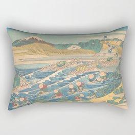 Fuji Seen from Kanaya on the Tōkaidō, Series Thirty-six Views of Mount Fuji by Katsushika Hokusai Rectangular Pillow