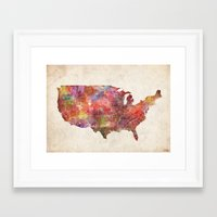 usa Framed Art Prints featuring USA map by MapMapMaps.Watercolors