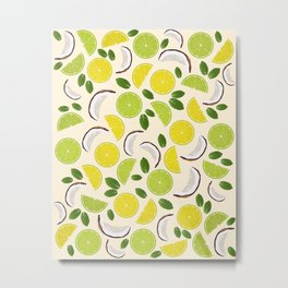 Lime Lemon Coconut Mint pattern Metal Print