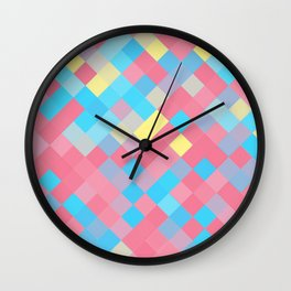Genderflux Pride Pixelated Angled Squares Wall Clock