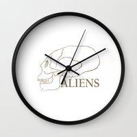 aliens Wall Clocks featuring Aliens by klausbalzano