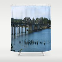 florence Shower Curtains featuring Siuslaw River Bridge - Florence  by Christiane W. Schulze Art and Photograph