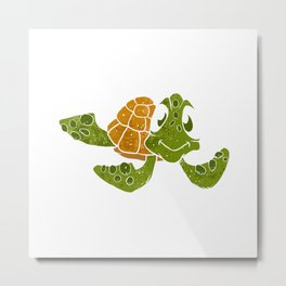 Cute turtle cartoon. Metal Print
