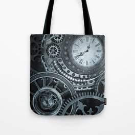 Silver Steampunk Clockwork Tote Bag