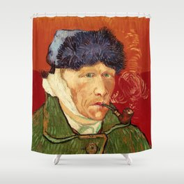 Vincent van Gogh Self-portrait with Bandaged Ear and Pipe Shower Curtain
