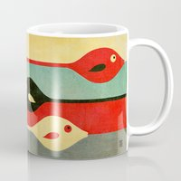 ariana grande Mugs featuring Three Fish in My Mind by Fernando Vieira