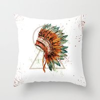 ethnic Throw Pillows featuring ethnic by limonlukusburnu