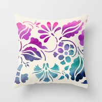 vintage floral Throw Pillows featuring Vintage Floral by Jacqueline Maldonado