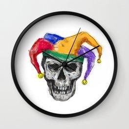 Jester Skull Laughing Tattoo Wall Clock