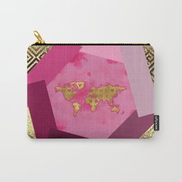 Gold World Hexagon Mixed Media Carry-All Pouch