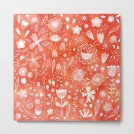 White Flowers on Coral Metal Print