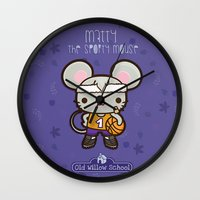 matty healy Wall Clocks featuring Matty the Sporty Mouse by Squid&Pig