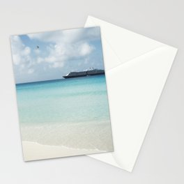 Beautiful sand beach with crystal clear water and cruise ship anchored, Bahamas Stationery Cards