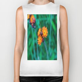 Orange and Red Flowers Biker Tank
