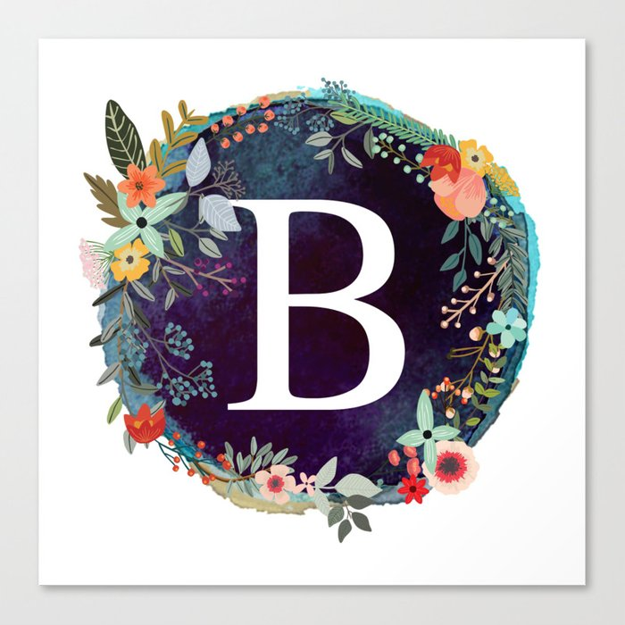 Personalized Monogram Initial Letter B Floral Wreath