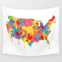 patriotic Wall Tapestries featuring Patriotic USA Map by ArtisanObscure Prints