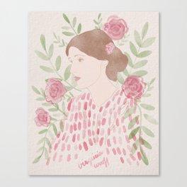 Virginia Woolf Floral Watercolor Canvas Print