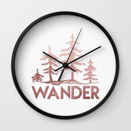 WANDER Adventure Forest Rose Gold Pink Wall Clock