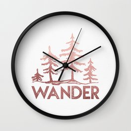 WANDER Adventure Forest Rose Gold Pink Wall Clock