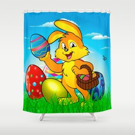 Easter bunny rabbit with Easter basket Shower Curtain