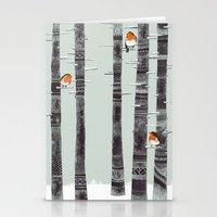 wallpaper Stationery Cards featuring Robin Trees by Sandra Dieckmann