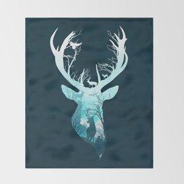 Deer Blue Winter Throw Blanket