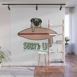 Surf's Up Pug Wall Mural