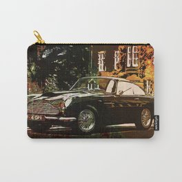 Aston Martin DB4 GT 1960 vintage classic car on New Orleans colorful map Carry-All Pouch