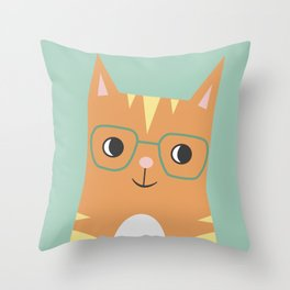 Tabby Cat with Glasses Throw Pillow