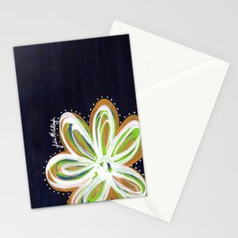 Navy and Gold Flower Stationery Cards