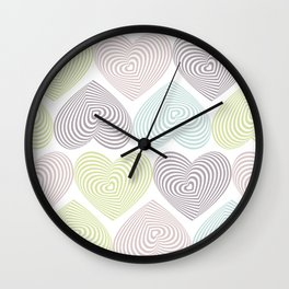 pastel hearts on white Wall Clock