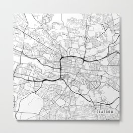 Glasgow Map, Scotland - Black and White Metal Print