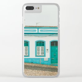 Turquoise Blue and Red Houses in Lagos, Portugal Clear iPhone Case
