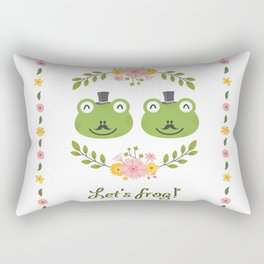 Let's frog! Funny gay frogs couple Rectangular Pillow