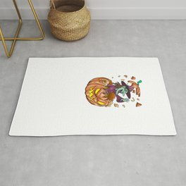 Witch Pumpkin, It's Show Time Funny Halloween Horror Scary Rug