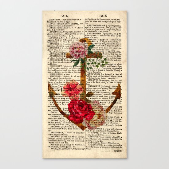 Vintage Anchor with Flowers Dictionary Art Canvas Print