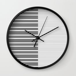 The Piano Black and White Keyboard with Horizontal Stripes Wall Clock