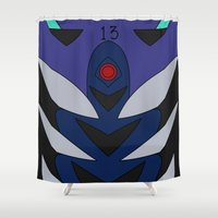 evangelion Shower Curtains featuring Kaworu Rebuild Plugsuit by Bunny Frost