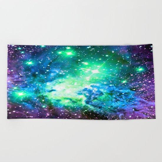 Fox Fur Nebula BRIGHT : Green Blue Purple Galaxy Beach Towel