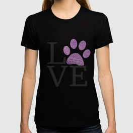 Love is a Four Letter Word - purple paw T-shirt