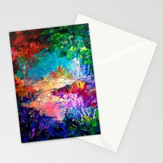 WELCOME TO UTOPIA Bold Rainbow Multicolor Abstract Painting Forest Nature Whimsical Fantasy Fine Art Stationery Cards