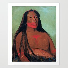 Máh-to-tóh-pa, Four Bears, Second Chief in Mourning, George Catlin Art Print
