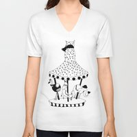 carousel V-neck T-shirts featuring Carousel by Laurenji Bloom