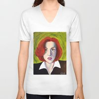 dana scully V-neck T-shirts featuring Dana Scully: Xfiles by Cameron Tyme Edison
