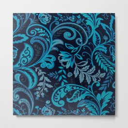 Classic Paisley in Navy and Blue Metal Print