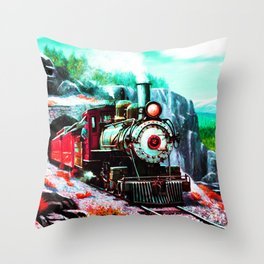 starry night train Throw Pillow