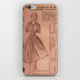 Vintage sewing pattern, 1950s  iPhone Skin