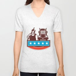Pressure Washer Worker Truck USA Flag Retro Unisex V-Neck